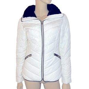 Guess Puffer Coat With Faux Fur Collar